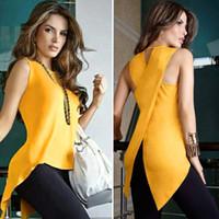 cross blouses оптовых-Женская блузка без рукавов женская верхняя часть креста с нерегулярным о-образным вырезом сплит блузка рубашка летние топы для женщин майка