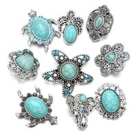 Wholesale female elephant - Fashion Turquoisestone 18mm Metal Snap Button Elephant flowers starfish For Bracelet Watches Women Female DIY Jewelry