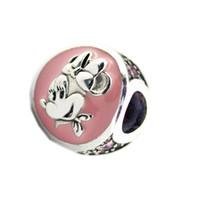 ingrosso diy del fumetto del branello-New Authentic 925 Sterling Silver Bead Pink Smalto Cute Cartoon AnimaLs rotondo Charm Fit originale Pandora bracciali gioielli fai da te