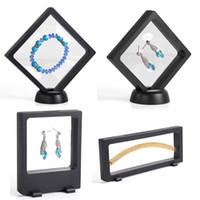 Wholesale plastic rack price resale online - 4Pcs Bulk Price Transparent PET Suspension Window Gift Box Watch Genstone Dismond Coin Necklace Jewelry Display Stand Holder Rack