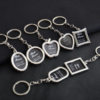 round metal keychains achat en gros de-Cadre photo rond coeur pomme ovale losange forme alliage de métal porte-clés porte-clés porte-clés voiture porte-clés couple porte-clés cadeau d'entreprise