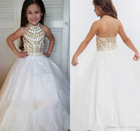 Wholesale Young Girl White Dress - 2018 Cute Halter Girl's Pageant Dress Princess Sleeveless Beaded Crystals Party Cupcake Young Pretty Little Kids Queen Flower Girl Gown