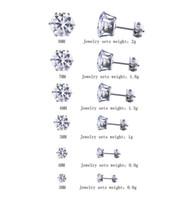oreilles percées boutons diamant achat en gros de-6 paires / lot 3mm-8mm CZ Boucles D'oreilles Ensembles Femmes Filles Brillant Rond Diamant Piercing Oreille Bouchons Goujons pour Garçons Hommes Ados Argent Noir En Gros