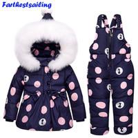 Wholesale Parka Pants - Baby Boys Girls Winter Duck Down Jackets Children Warm Outerwear Coat+Pant Clothing Set Snowsuit Kids Clothes Parka Snow Wear