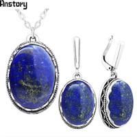 ingrosso orecchini d'argento lapis lazuli-intera venditaOval naturale lapislazzuli gioielli set orecchini collana per le donne argento antico placcato catena in acciaio inox regalo della festa nuziale