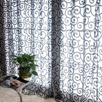 ingrosso drappi floreali neri-Pastorale floreale Tulle Voile Porta sciarpa Valances Drape Sheer Window Curtains Home Party Window Curtain