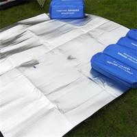 almohadilla de aluminio al por mayor-Seis ángulo de plegado almohadilla a prueba de humedad De doble cara película de aluminio Estera de picnic para acampar almohadillas al aire libre a prueba de agua 18dy X