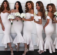 Wholesale sleeveless tea length bridesmaid dresses for sale - Group buy Elegant Tea Length Hi Lo Mermaid Bridesmaid Dresses Backless African Arabic Off Shoulders Short Maid of Honor Wedding Guest Gowns BM0728