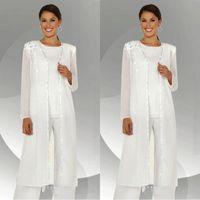 ingrosso pantaloni eleganti bianchi-Maniche lunghe in chiffon bianco elegante madre della sposa Pantalone con camicetta lunga paillettes in rilievo madreperta abito pantalone BA3961