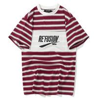 Wholesale block out - Color Block Letter Printed Striped Short Sleeve Men T Shirts Hip Hop Casual Cotton Streetwear Fashion T-shirt