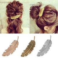 metallklauenclips großhandel-Mode-Metal-Blatt-Form-Haarspange Haarspangen Kristallperlen-Hairpin Barrette Farben-Feder-Haar-Greifer-Haar-Styling-Werkzeug 20pcs Weihnachtsgeschenk