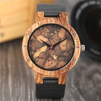 Wholesale Vintage Male Watches - Stylish Les Feuilles Mortes Pattern Face Natural Wood Watches for Men and Women Vintage Handcrafted Wooden Male Female Quarzt-watch Gift