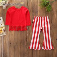 rote babystiefel großhandel-Baby Mädchen Red Suit Kinder Designer Quaste Pullover Solide Kleidung Rot Weiß Gestreifte Schlaghosen Boot Cut Outfits Langarm Herbst 2-7 T