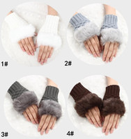 Wholesale lady mittens resale online - Top high quality women multicolor warm fingerless gloves for colors cute plush ladies mittens knitted