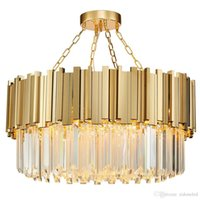 Wholesale gold chain tube for sale - Round Luxury Modern Crystal Chandelier irregular gold stainless steel tube pendant lamp clear crystal hanging light fixture for Living Room