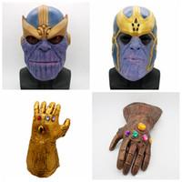 erwachsene spielzeug latex großhandel-Avengers 3 Infinity War Thanos Maske Handschuhe Kinder Erwachsene Halloween Helm Vollgesichts Cosplay Latex Infinity Gauntlet Spielzeug Party Masken AAA436