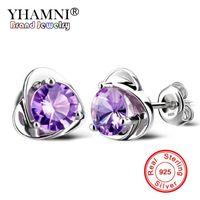 Wholesale ct earrings - YHAMNI Natural Crystal Heart 1 ct 6mm Purple white CZ Diamond Earring 925 Sterling Silver Wedding Jewelry Earrings for Women ED040