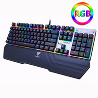 Wholesale Wired Backlit Keyboard - Mechanical gaming keyboard Optical connection switch RGB Backlit Anti-ghosting waterproof USB wired Pro gamer Russian stickers