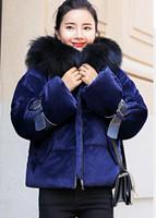 koreanische kleidung locker großhandel-Freies senden Sie Winter 2018 neuen Art lose und bequeme koreanische große Haarkragen-weibliche Baumwolle gepolsterte Kleidung