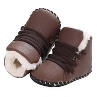 Wholesale infant boots for boys - Lace-Up Baby Toddler Shoes Prewalker Warm PU Baby Boy Girls Shoes Soft Sole Boots Infant Moccasins for Kids First Walkers