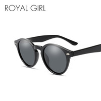 siyah tırnak modası toptan satış-Royal girl yuvarlak polarize güneş gözlüğü kadın erkek moda siyah pembe gözlük erkek tırnak çerçeve gölge óculos uv400 ms027