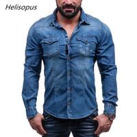 2819c59d5e4b Helisopus 2018 Denim Shirt Men s Cotton Pure Color Pocket Cowboy Shirt Men  Casual Long Sleeve Slim Fit Asian Size