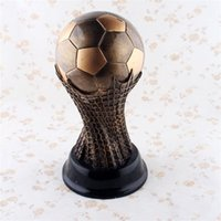 wholesale items for home NZ - Souvenirs World Cup Ornament Home Soccer Tropgy Gift Fans Take Items For Gift Memorable Resin Craftwork Hot Sale 46at ii