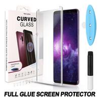 curva de caja al por mayor-Pegamento completo 3D vidrio templado para Samsung S10 Note10 S9 S8 Plus Note8 Protector de pantalla con adhesivo completo Compatible con luz UV en la caja
