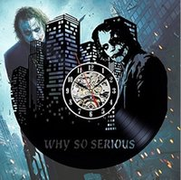 Wholesale character wall clocks - Dark Knight Joker Batman Movie Characters Vinyl Record Design Wall Clock