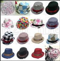 Wholesale boys fedoras - Baby Girl Boy Toddler Cap Fedora Hat Jazz Kids Photography Cotton Trilby Top Flat Top Fedora Cap Sun Hat Jazz cap KKA5442