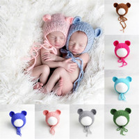 Wholesale Teddy Bear Winter - Crochet Knit Newborn Mohair Hat Fluffy Crochet Teddy Bear Bonnet Hat Beanie Photography Prop Newborn Baby Photography Props