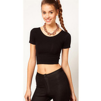 f99f84ef31296 2019 Summer Sexy Crop Top Ladies Short Sleeve t shirt women tops Basic  Stretch T-shirts Bare-midriff camiseta feminina