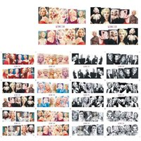 marilyn monroe autocollants achat en gros de-48 PCS Autocollant De Transfert D'eau Manucure Nail Art Décoration Stickers Marilyn Monroe Halloween Festival Style Autocollant De Fleur