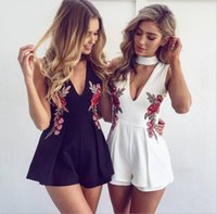 f061832b24a 2018 Short Beach Dress Jumpsuit Black White Color Halter Embroidery Cheap  Holiday Dress Short Pants S-2XL Size In Stock Plus Size Prom Gowns