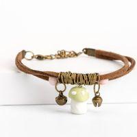 diy keramik für schmuck großhandel-Pilz Keramik Cartoon Geschenk Armband Modeschmuck Geschenk Boho DIY Keramik Armbänder Großhandel Drop Shipping # EY401