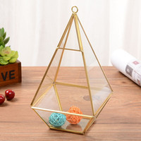 Wholesale modern tabletop decor - Diamond Desktop Garden Planter Modern Glass Terrarium Geometric Jewelry Storage Box Clear Home Decor Vases Top Quality 26zf BB
