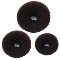 y haare großhandel-3 STÜCKE Schwamm Frauen Haarknoten Ring Donut Former Maker Haarbänder Ringe Krawatten Seil Kaffee # Y