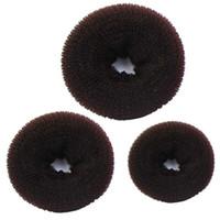 Hair Bun Maker 3PCS Sponge Women Ring Donut Shaper Bands Rings Ties Rope Coffee #Y