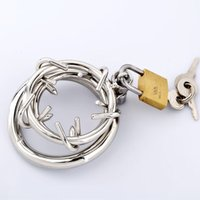 Wholesale chastity ring gay sex for sale - Group buy 2018 HOT Raycity Male Chastity Device Crown of Thorn Stainless Steel Bondage Male Chastity Ring Gimp Fetish HOT Gay Sex Toys For Men BDSM