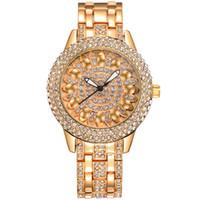 6c055cce3b74 BAOSAILI Classic Lotus Rhinestones correa de aleación de acero inoxidable  Volver reloj de pulsera para mujer reloj de pulsera de moda