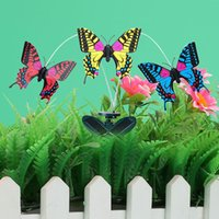 Al por mayor-DIY Mariposa Solar Juguetes Aleteo Mariposa Powered Garden Yard Decor