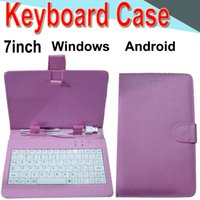 Wholesale waterproof keyboard case online - Wire Keyboard Case inch Cover for Android Windows Ultra Thin Wireless Color ABS Keyboard PU Case Universal Mobile Phone XPT