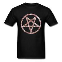 t-shirts musterbild großhandel-Floral Pentagram Pattern Design T Shirt Gutscheine Kurzarm Herren T-Shirt 3d Digital Image T-Shirts O Neck Full Cotton Tops