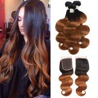insan saçı iki renkli uzatma toptan satış-Brezilyalı Bakire Saç Uzantıları Ile 3 Demetleri 4X4 Dantel Kapatma Vücut Dalga 1B / 30 Ombre Renk Iki Ton Düz İnsan Saç Atkı Ile Kapatma
