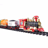 Wholesale rubber rc motor resale online - toy railroad antistress funny gadgets Remote Control Conveyance Car Electric Steam Smoke RC Train Set Model Toy Gift