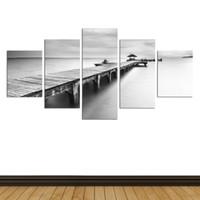 Wholesale Canvas Pier - Original New Home Decor Art HD Print Landscape Oil Painting Wall Decor Art on Canvas, YF90.Black and white pier sea 5PC Unframed