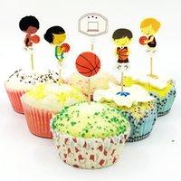fontes da festa de anos dos miúdos venda por atacado-720 pcs meninos jogando basquete esportes bola cesta cupcake topper escolha kids birthday party baby shower decoração do bolo suprimentos