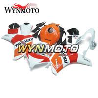 cbr repsol fairings toptan satış-Honda CBR1000RR 2008 2009 2010 Için komple Motosiklet ABS Plastik Enjeksiyon Kaporta Kiti CBR 1000RR Karoser Repsol Beyaz Kırmızı Turuncu