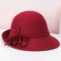 ingrosso fiori di lana-Cappello in lana per signora fedora Cappello invernale in lana per bambina Cappello con cupola elegante per donna Cappellino in lana regolabile B-8903