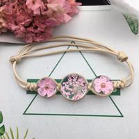 Wholesale dried flowers bracelet resale online - Summer Style Glass Ball Woven Bracelet Weave Lucky Flower Bracelets Handmade Dried Flowers Glass Beads Bracelet Women Jewelry Holiday Gift